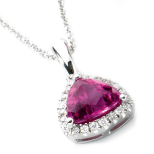 Pink tourmaline and diamond necklace This stunning stone is set in sparkling diamonds.