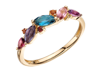 A lovely 9ct yellow gold ring set with pink tourmaline, sky blue topaz, citrine, amethyst, rose de france amethyst, green amethyst and morganite.
