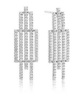 A truly stunning pair of glittery earrings by Sif Jacobs. Five bars or different length are set with sparkling cubic zirconia.